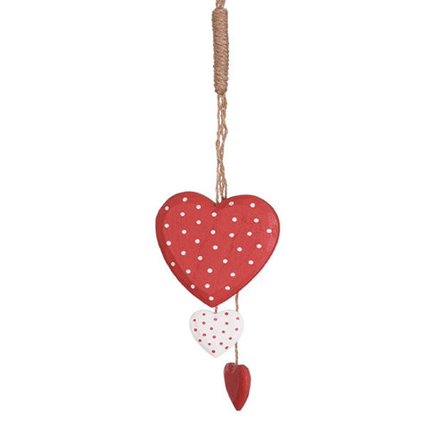 Red heart hanging Decoration  - Bunch of Red Wooden hearts