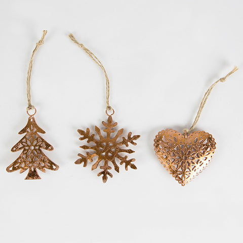 Sass and Belle Set of Three Copper Filigree decorations - Star, Heart and Snowflake