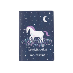 A5 sized Notebook - Starlight Unicorn Midnight Blue design, Plain paper