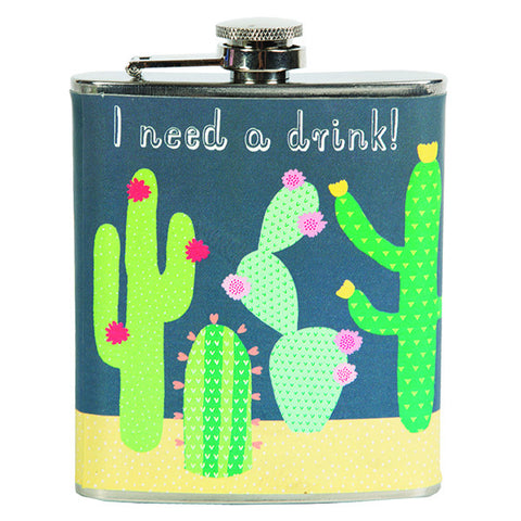 Sass and Belle Colourful Cactus hip flask - Stainless steel