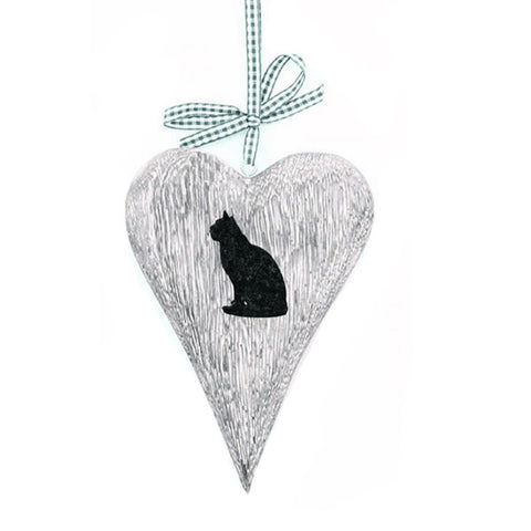 ECP Design Wooden Hanging heart complete with Cat Decoration