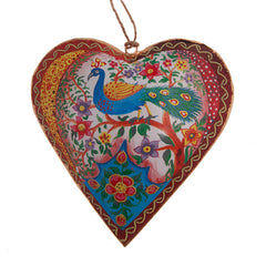 Folk Peacock Hanging Large Heart decoration- Metal Hanging decoration