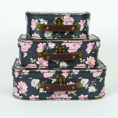 Sass and Belle Suitcase set - French rose Three piece suitcase set