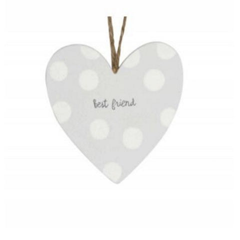 Gisela Graham Grey Wood Polka Dot Best Friend Heart Decoration