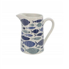 Gisela Graham - White and Blue Ceramic Fish Design Medium Jug 14.5x14x9.5cm