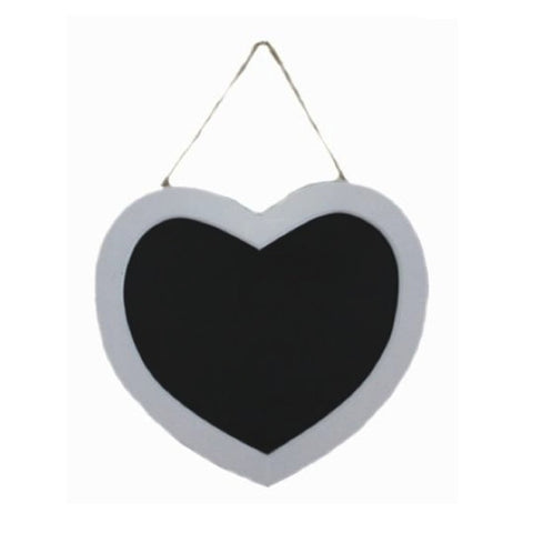 Gisela Graham White Wooden Heart Chalkboard