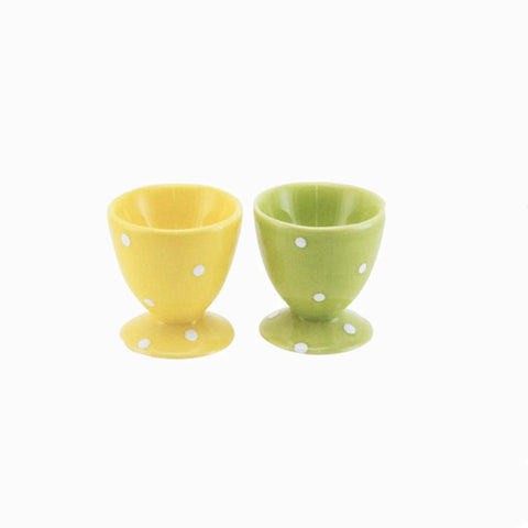 Set of Two Yellow and Green Ceramic Egg Cups - Gisela Graham Egg cup