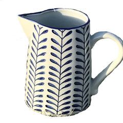 Gisela Graham - White and Blue Ceramic Leaf Design Large Jug 20cm x 22 x 13cm