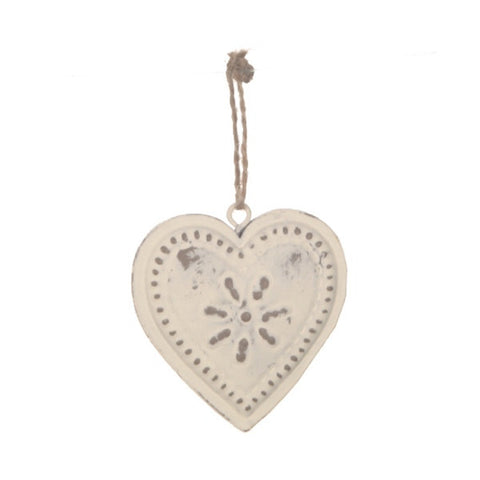 Sass and Bell White Vintage Style Hanging Heart - Metal hanging decoration