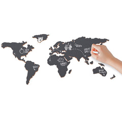 Luckies Chalkboard map - Map of the world with Chalkboard stickers