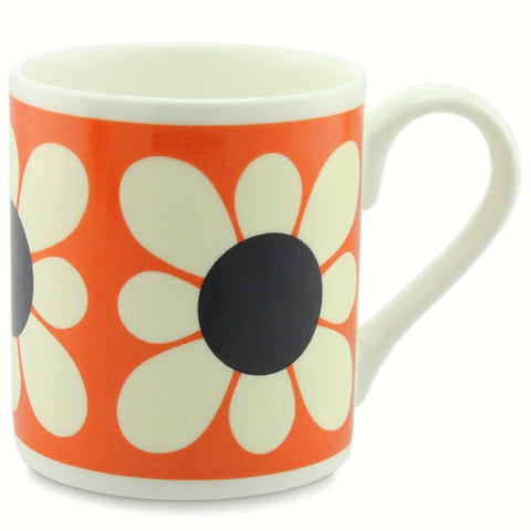 Orla Kiely Bone China Mug - Square Daisy Flower Orange