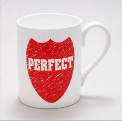 Bone China Mug - Perfect, Red Shield and White lettering