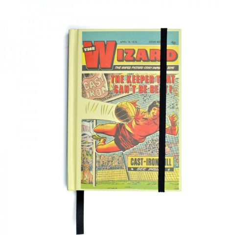 Vintage themed Comic Hard back Notebook - A6 Size. The Wizard
