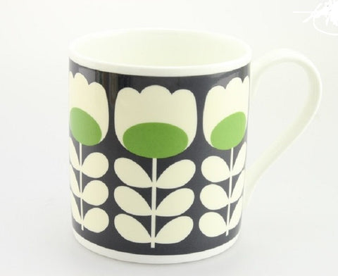 Orla Kiely Quite Big Bone China Mug -  Tulip Stem Green