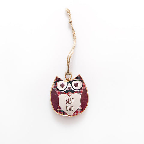 Sass and Belle Hamish Best Dad Owl decoration- Metal Hanging decoration
