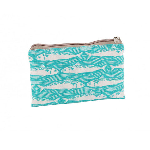 Teal Fish Design Fabric Zip up Purse - Beauty Accessories