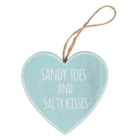 Sandy toes and Salty kisses Beach Blue Wooden Plaque - Heart shaped