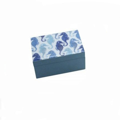 Gisela Graham White and Blue Wooden Nautical design Keepsake box