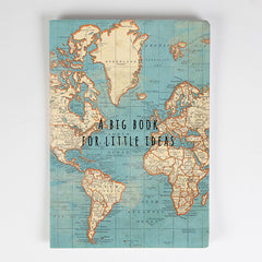 A5 sized Notebook - Blue Vintage Map design, Plain paper
