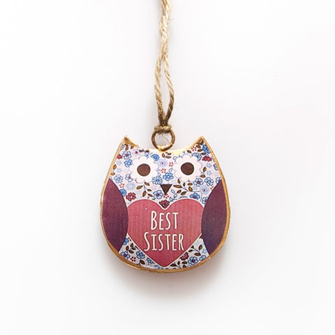 Violet Mini Best Sister Owl decoration- Metal Hanging decoration