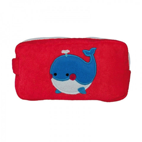 Whale Design Washbag - Zip up washbag, towelling