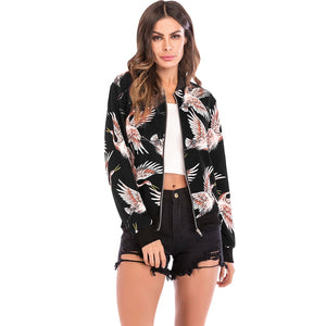 Stand Collar Long Sleeve Bird Print Jacket