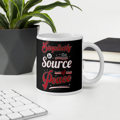 Simplicity is the source of peace inspirational quotes coffee mug
