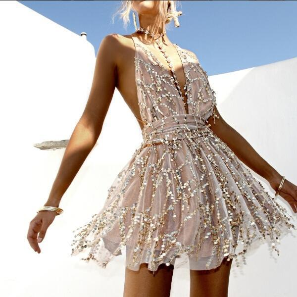 Sequin Backless Bandage Party Dress