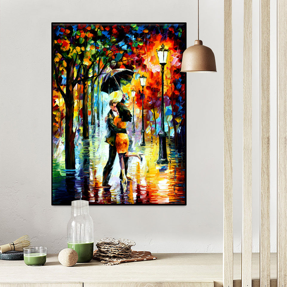Modern Canvas Print Art Knife Painting Romantic Lover Wall Picture for Living Room Bedroom Wall Decor Unframe Ship from US