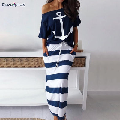 Two-Piece Shirt and Skirt Set for Women with Anchor Print and Stripes