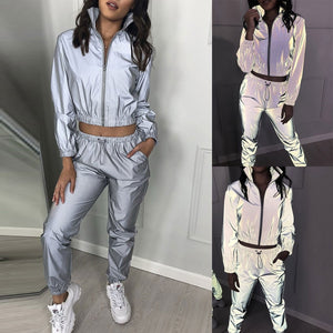 Fashion Tracksuit For Women Casual 2 Pieces Running Sets Reflective Set Long Sleeve Crop Tops + Pants Fitness Sportswear#g4