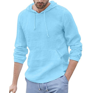 Linen Hooded Pocket Solid Long Sleeve Retro Shirt
