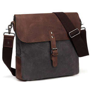 Vintage Small Messenger Bag Genuine Leather Waxed Canvas