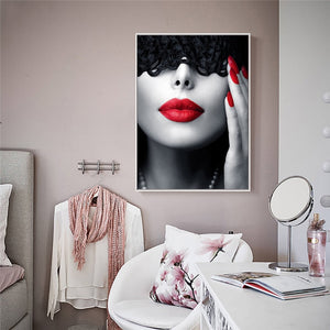 Masked Red Lips Woman Oil Painting Wall Art Poster Print Frameless Canvas Picture Home Decoration Living Room Bedroom Study