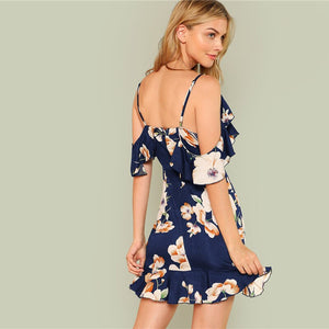 Navy Floral Print Boho Short Dress