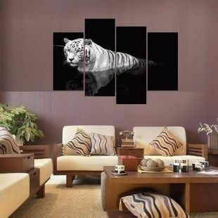 Wall ART 4 Panel 3D Black And White Tiger Group Print Painting (No Frame) For Home Decor Modern Wall Art Picture For Living Room