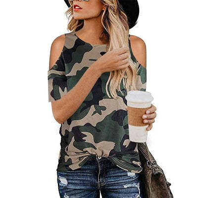 Camouflage Hollow Out T-Shirt