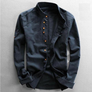 Men's Cotton Linen Shirts Long Sleeve
