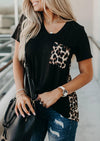 V-neck Leopard Pocket T-Shirt