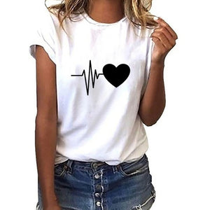 Loose Short-Sleeved Heart Print T-Shirt