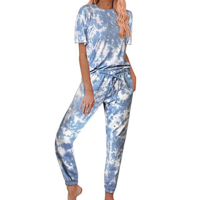 Casual Daily Tie-dye Two Pieces Sets