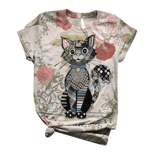 3d Animal Printed O-neck Top