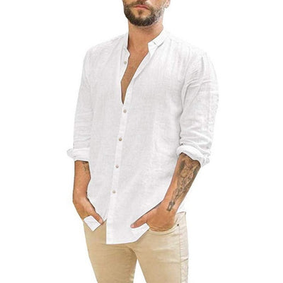 CYSINCOS 2020 Summer Men Shirt Baggy Cotton Linen
