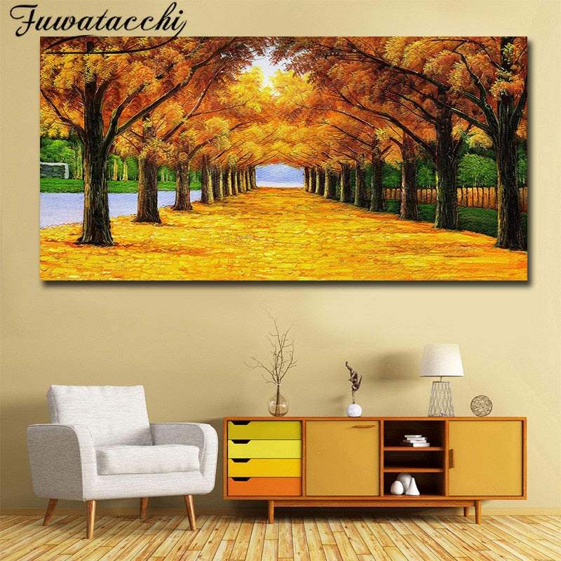 Fall Golden Leaves Modern Art Home Decor