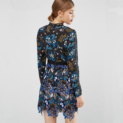 Lace Runway Party Dress with Long Sleeves