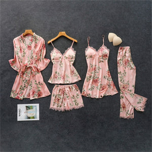 Five-Piece Silk and Lace Luxury Pajama Set