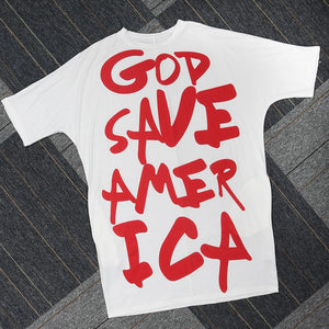 God Save America - Graffiti Casual Solid White Summer Red Dress