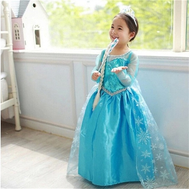 Girls Dress Christmas Anna Elsa 2 Cosplay Party Vestidos Girl Clothing Elsa Costume Snow Queen Elsa Dress for Halloween Princess