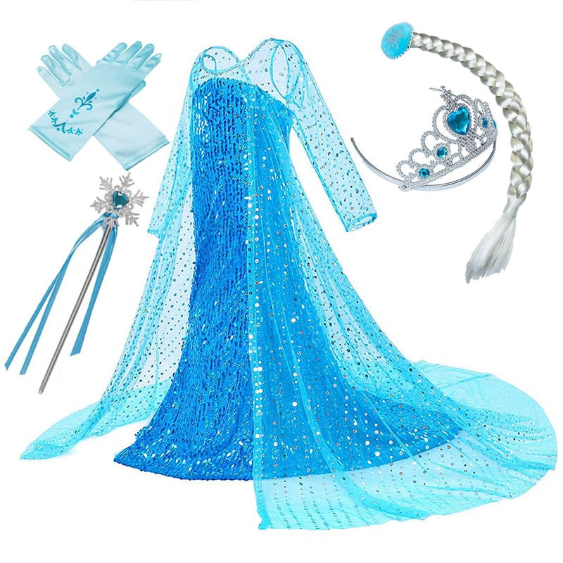 Girls Elsa Princess Dress Kids Flower Costume Set Snow Queen 2 Elza Children Birthday Halloween Party Fancy Cosplay Dress