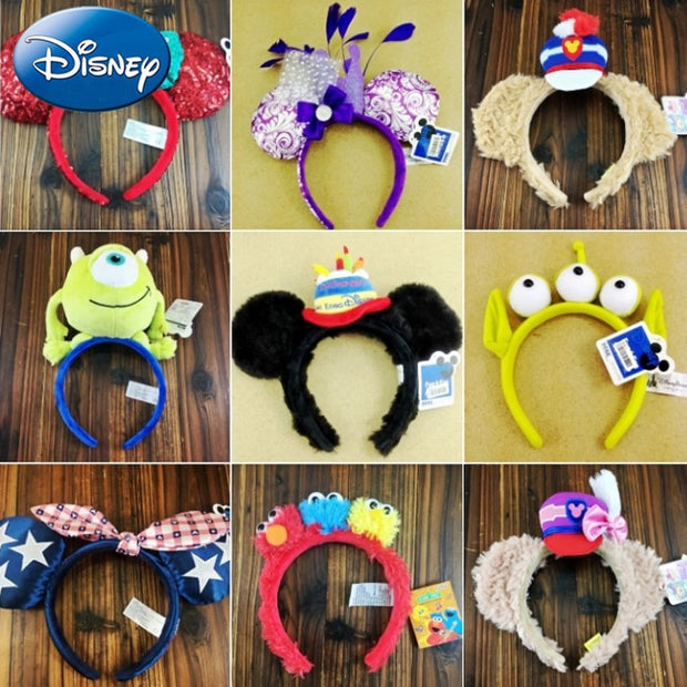 Disney Girl Mickey Minnie Hairband Play Game Women Party Headdress Ears Sequin Hair-Bands Princess Head Hoop Plush Toy Kid Gift